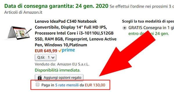 pagamento Amazon a rate